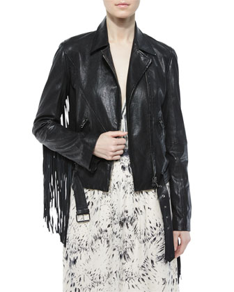 Leather Belted Moto Jacket W/ Fringe & Printed Deep-V Maxi Dress