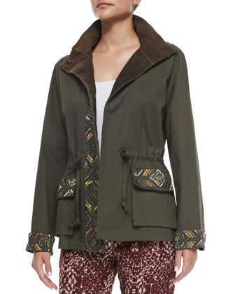 Embellished Eagle Cargo Jacket, Dark Military