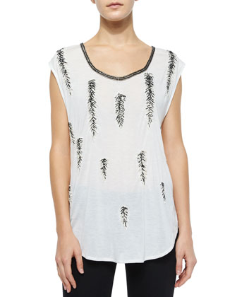 Feather-Embellished Dagger Tee, Swan