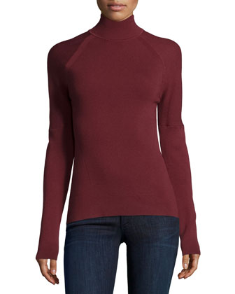 Turtleneck Long-Sleeve Sweater, Wine