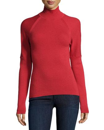 Turtleneck Long-Sleeve Sweater, Red