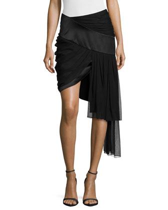 Draped Mini Skirt w/Asymmetric Hem, Black