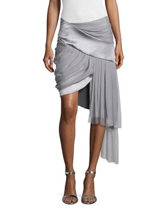 Draped Mini Skirt w/Asymmetric Hem, Platinum