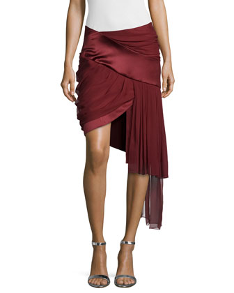 Draped Mini Skirt w/Asymmetric Hem, Wine