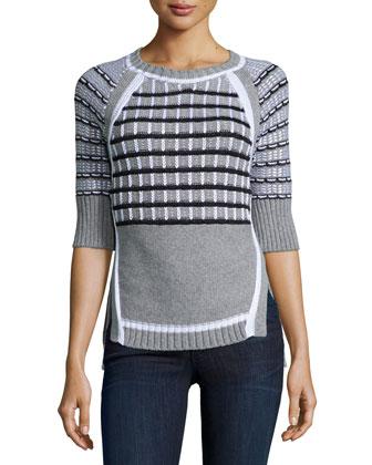 Jewel-Neck Striped Sweater, Black/White
