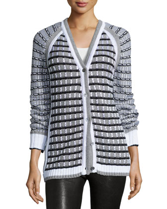 Grid-Stitch Long-Sleeve Cardigan, Black/White