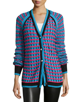 Grid-Stitch Long-Sleeve Cardigan, Teal