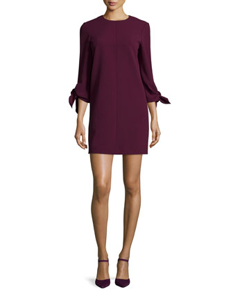 Woven Tie-Sleeve Shift Dress, Wine