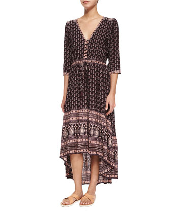 Gypsiana Multipattern Maxi Dress, Pepper/Purple