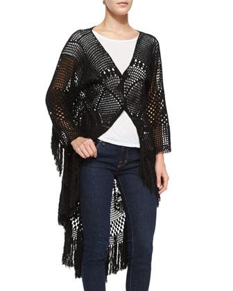 Mandala High-Low Crochet Fringe Coat, Black