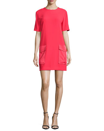 Double-Breasted Wool Coat & Short-Sleeve Dress W/ Pockets