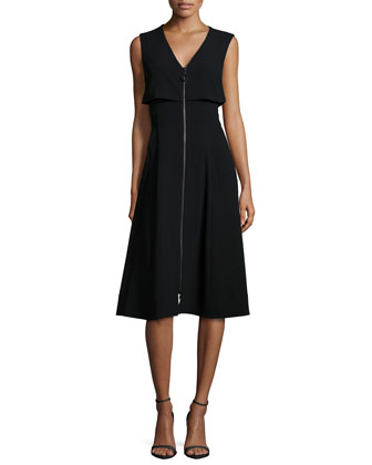 Sleeveless Zip-Front Fit-&-Flare Dress, Black
