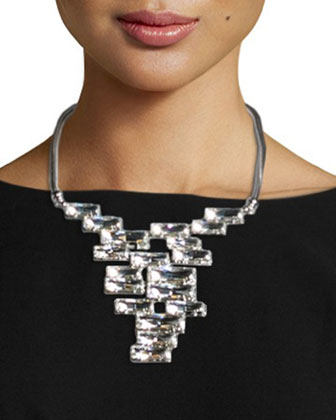 Marion Short-Sleeve Sheath Dress & Crystal Cluster Bib Necklace