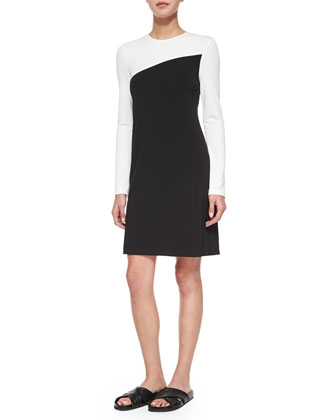 Putello Colorblock Long-Sleeve Dress, Black/Off White