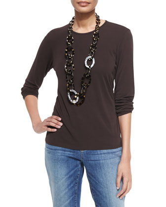 Long-Sleeve Silk Crewneck Tee, Chocolate, Women's