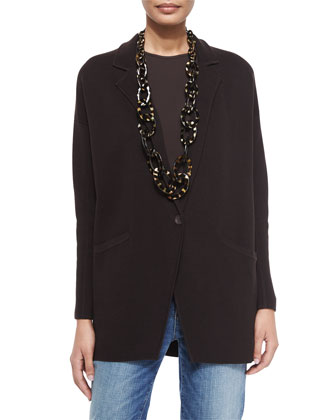 Notched-Collar Interlock One-Button Jacket, Chocolate, Petite