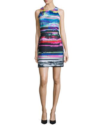 Luna Sleeveless Jewel-Neck Dress, Black Light Stripe