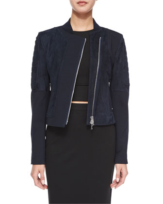 Shezi K. Perfect Long-Sleeve Suede Jacket, Navy