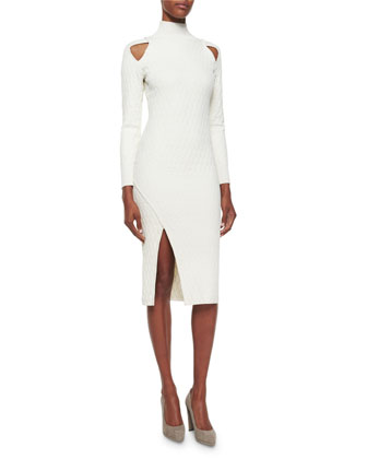 Quilted Cutout Turtleneck Sheath Dress, Ivory