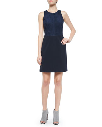 Jinxil Sleeveless Suede Ponte Dress, Navy