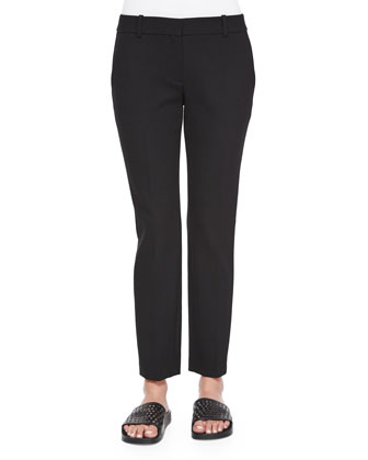Treeca Straight-Leg Faded Pants, Black
