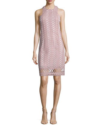 Sleeveless Tread-Lace Tunic Dress, Pink