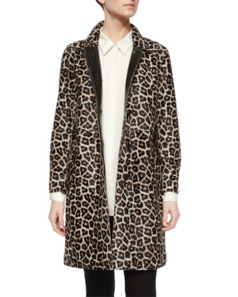 Dafina Leopard-Print Leather Coat & Adalwen Jetty Slim Zip-Pocket Pants