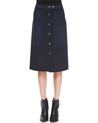 Slyn Fixture Button-Front Ponte Skirt, Navy