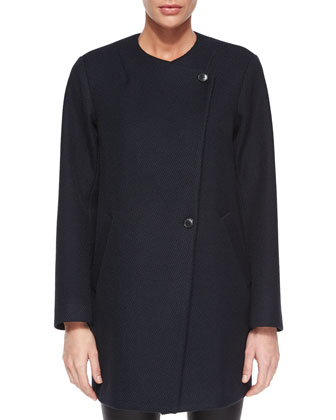 Venizka Camden Asymmetric Wool-Blend Twill Coat, Talniza Sleeveless Crepe ...
