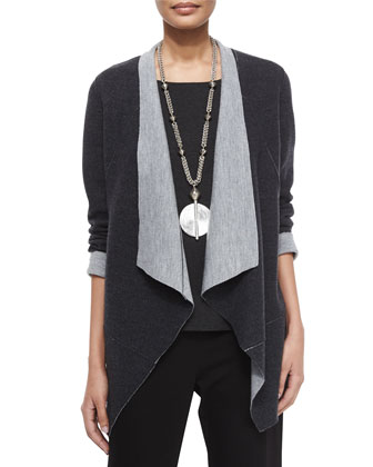 Merino Double-Knit Jacket, Long-Sleeve Jersey Cozy Tee & Straight-Leg Ponte ...