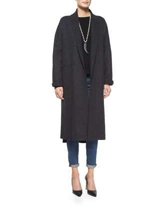 Boiled Wool Kimono Calf-Length Coat, Petite