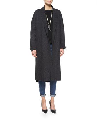 Boiled Wool Kimono Calf-Length Coat, Women's