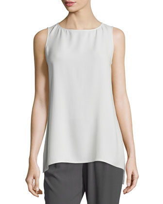 Fine-Gauge Cashmere Box Top, Sleeveless Silk Long Shell & Pleated Wide-Leg ...
