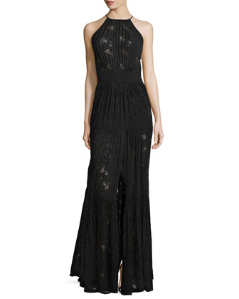 Penelope Silk Jacquard & Chiffon Pleated Dress