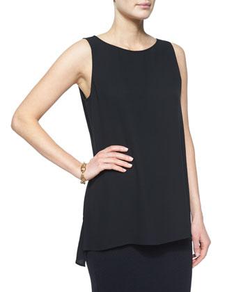 Sleeveless Silk Long Shell, Women's