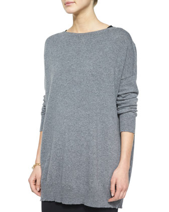 Fine Gauge Cashmere Tunic, Sleeveless Silk Long Shell & Washable Wool Midi ...