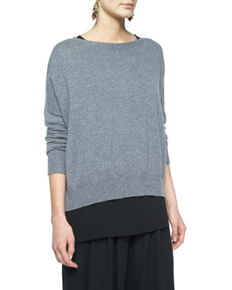 Fine-Gauge Cashmere Box Top, Petite