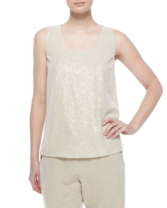 Shawl-Collar Long Wool Cardigan, Cleo Sleeveless Sequined-Front Blouse & ...