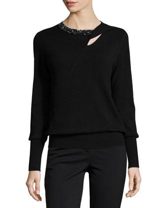 Cashmere Embellished Keyhole Sweater