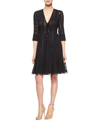 Embroidered Silk Dress, Black