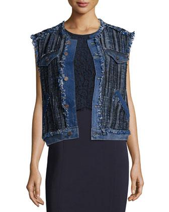 Denim/Tweed Vest & Nancy Lace-Trim Illusion Dress