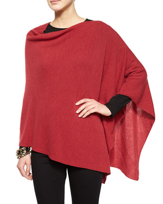 Merino Wool Links Poncho, Long-Sleeve Silk Crewneck Tee & Boot-Cut Ponte ...