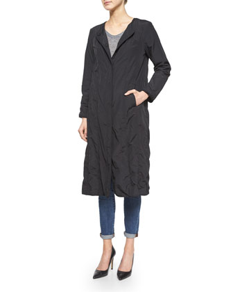Bonded Snap-Front Long Coat, Women's