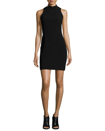 Crystal Studded Mock-Neck Dress, Black