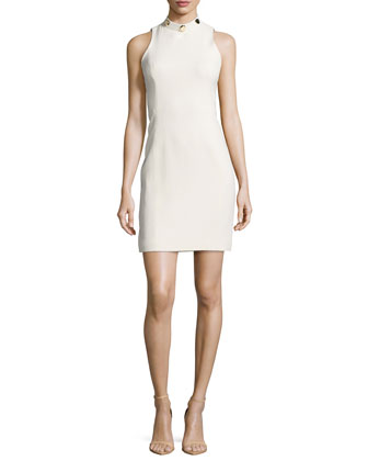 Crystal Studded Mock-Neck Dress, White