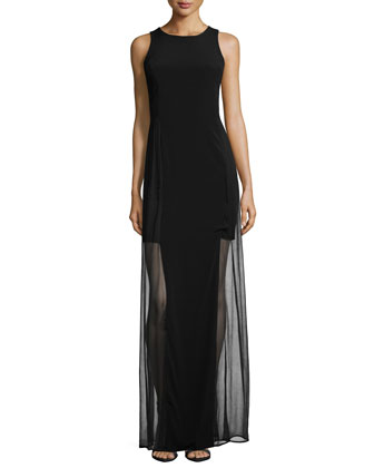 Chloe Paneled Sheer-Overlay Gown