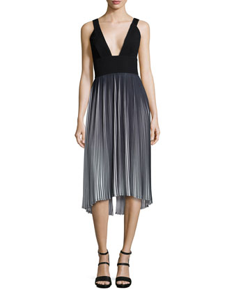 Sleeveless V-Neck Pleated Dress, Black/Ivory