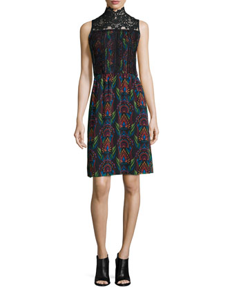 Brea Victorian Printed Sleeveless Dress