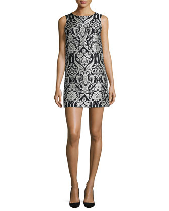 Clyde Sleeveless Damask Shift Dress, Black/White