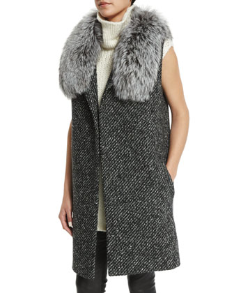 Droneta Wool-Blend Vest with Fur Collar, Vandrona Sleeveless Turtleneck ...